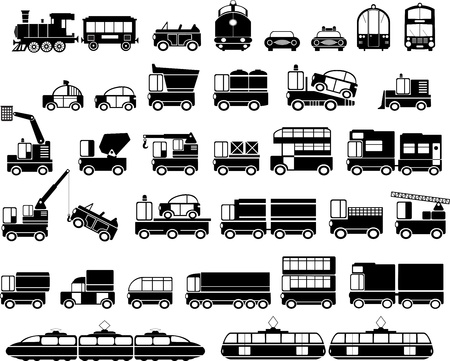 locomotora: Diversas variantes de un coche en el blanco Vectores
