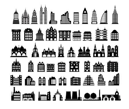 maison de maitre: Diverses variantes de maisons sur le blanc Illustration