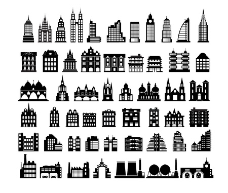 apartment building: Various variants of houses on the white Illustration