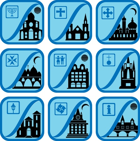 Set of icons from a city life Vector