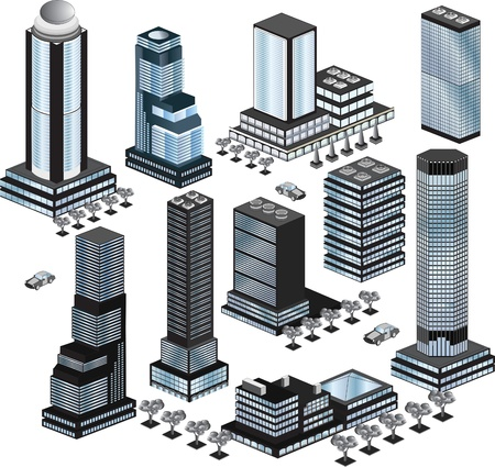 Various variants of buildings on the white Vector