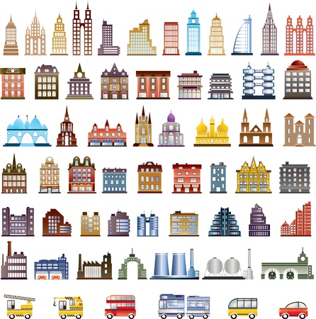 people in church: Various variants of houses on the white Illustration