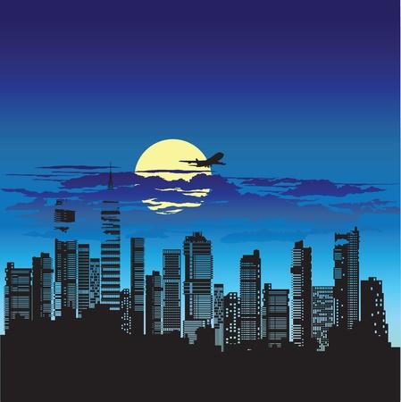 view from the plane: Silueta de la ciudad en un fondo del cielo nocturno Vectores