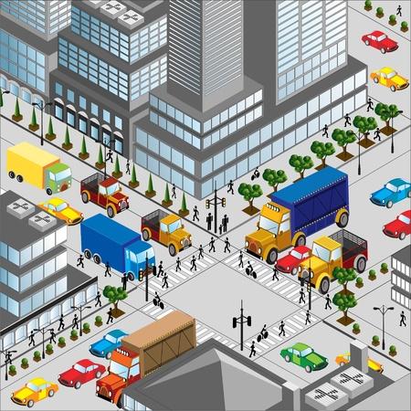 attraversamento della città è in uno tridimensionale un'immagine Vettoriali