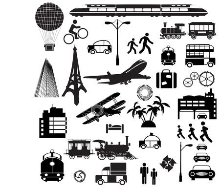 mode of transport: Diferentes siluetas sobre un tema un viaje sobre un fondo blanco