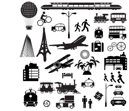 Different silhouettes on a theme a trip on a white background Vector