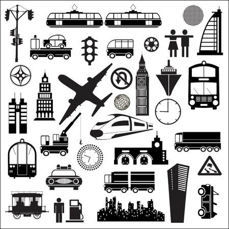 train icon: Different silhouettes on a theme a trip on a white background