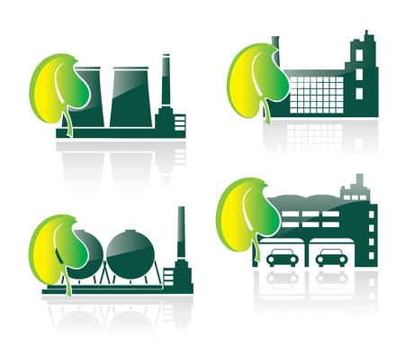 Silhouettes of industrial buildings on a theme ecology Vector