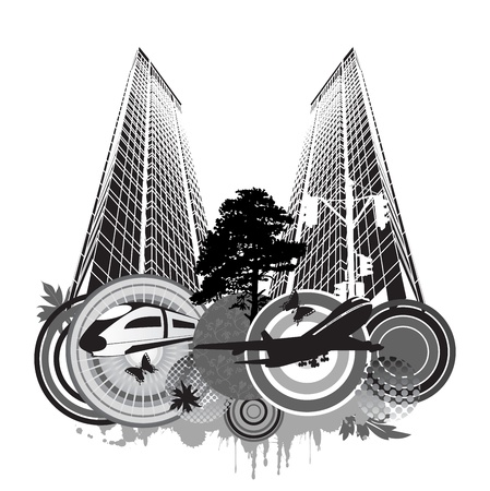 Fantasy on a city theme on a white background Stock Vector - 11973261