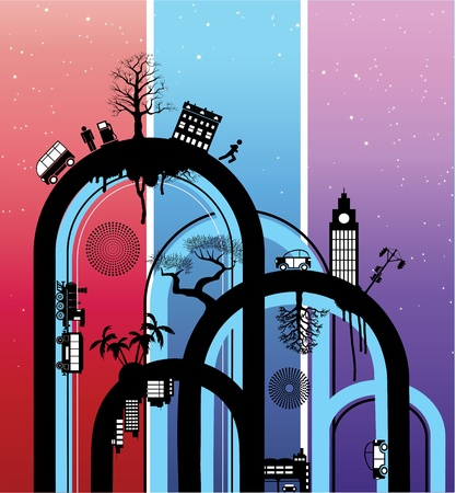 Abstraction on a theme a city  Vector