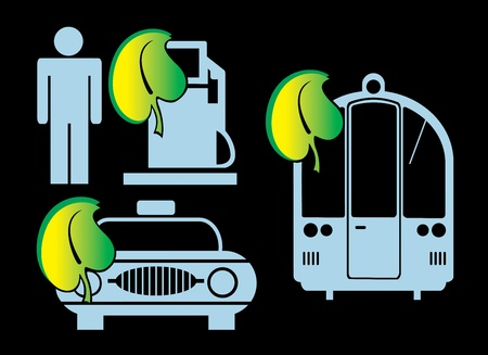 nuclear symbol: Silhouettes on a theme ecology Illustration