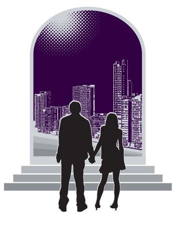 Silhouette of the girl and the guy against a city Vector