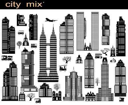 Diverse varianti di edifici sul bianco Vettoriali