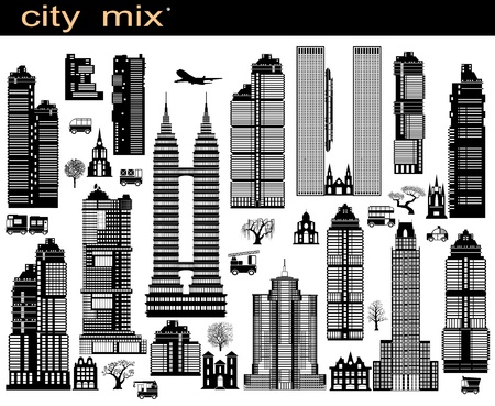 Various variants of buildings on the white