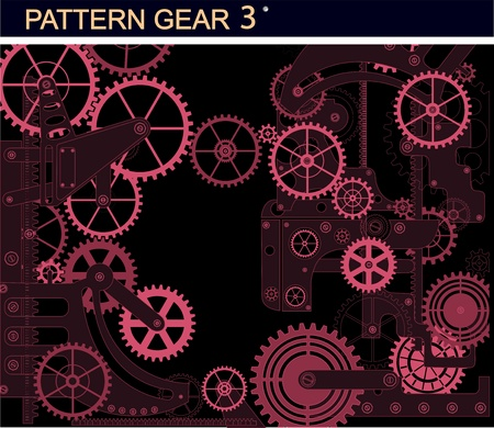 clock gears: Mechanism of red color on a black background Illustration