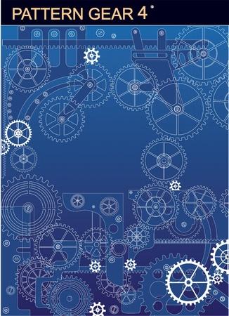 Meccanismo di bianco su sfondo blu Vettoriali