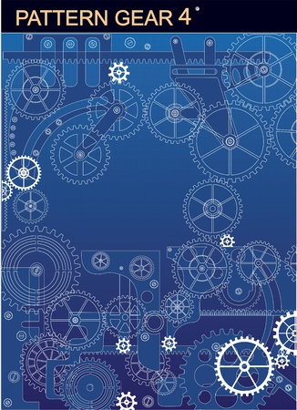 Mechanism of white  on a  blue background Vector