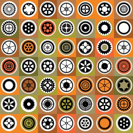 A mosaic consisting of gear of different color