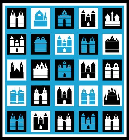 Urban mosaic on a blue background Vector
