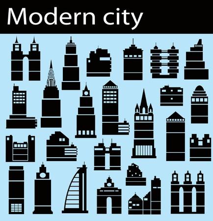 Modern bildings on a blue background