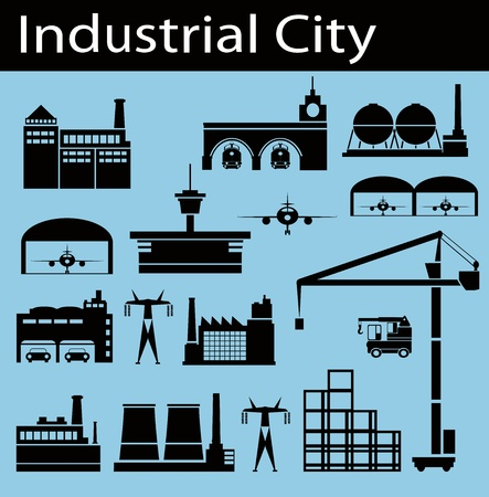 car factory: Industrial buildings on a blue background Illustration