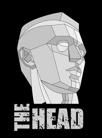 Courageous human head on black background Vector