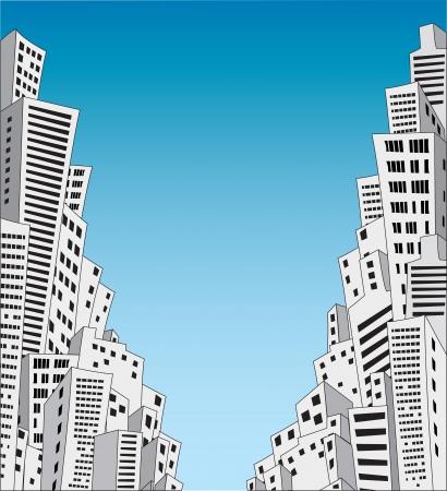 Molte case della città sul blu