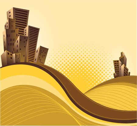 Many houses  on the yellow background Vector