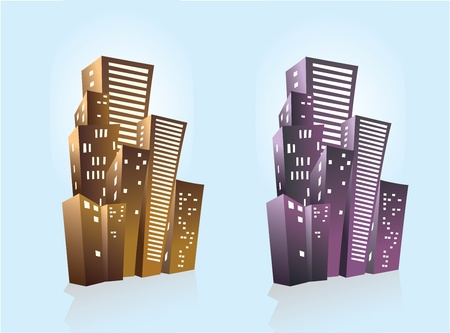 City on a blue background Vector