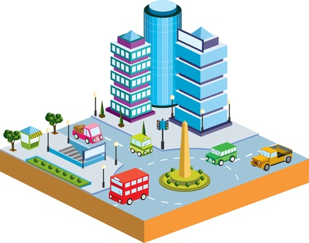 building activity: Town in isometric view with the landscape