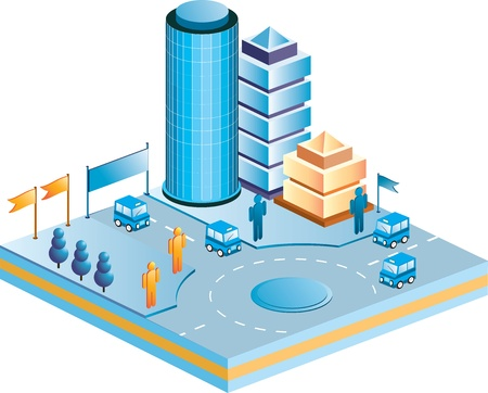 Town in isometric view with the landscape Stock Vector - 12004634