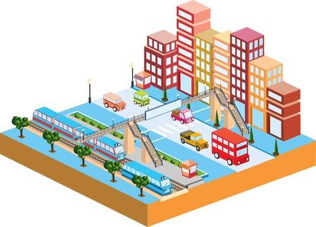 Città in 3D con il trasporto e gli edifici