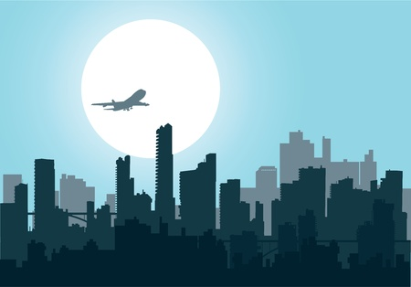 city silhouette: Silhouette of the city at night at sunset, and the aircraft