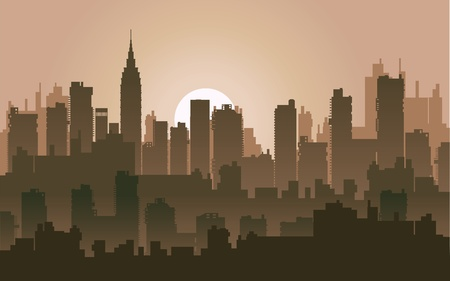 setting sun: Silhouette of the city at night against the setting sun