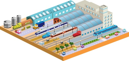 3D station with all buildings and transport Vector