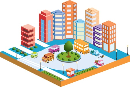 building activity: 3D city with  transport and buildings