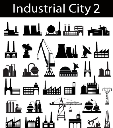 car factory: Industrial buildings on a white background