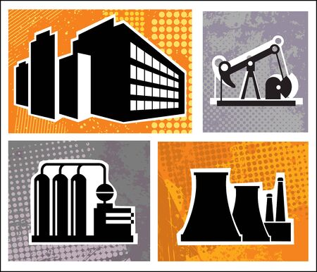 Industrial buildings on a colore background Vector