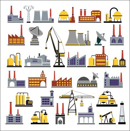 Colored Industrial buildings on a white background Vector