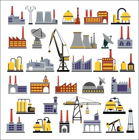 Edifici colorati industriali su uno sfondo bianco