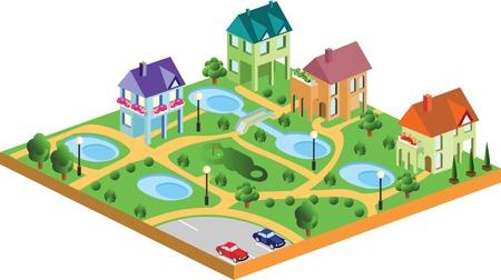 case del villaggio in proiezione isometrica