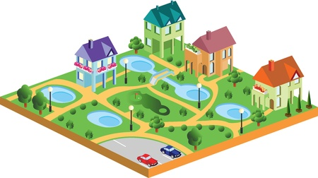 village houses in isometric projection Vector