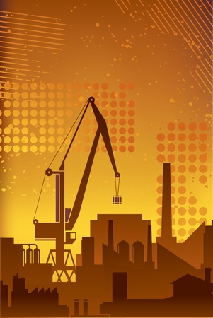 business concepts: Industrial plant on a background of abstract backdrop