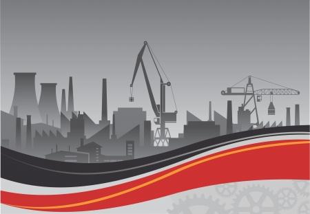 contaminacion ambiental: Planta industrial sobre un fondo de telón de fondo abstracto