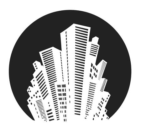 Silhouette bianca della città su sfondo nero