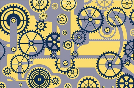 Elements of mechanism on a yellow background Vector