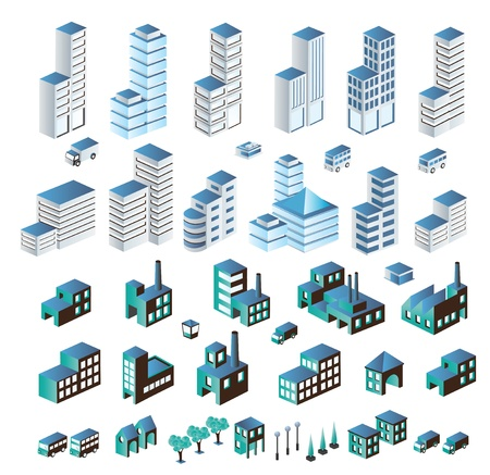 building activity: A set of urban and industrial buildings in the isometric