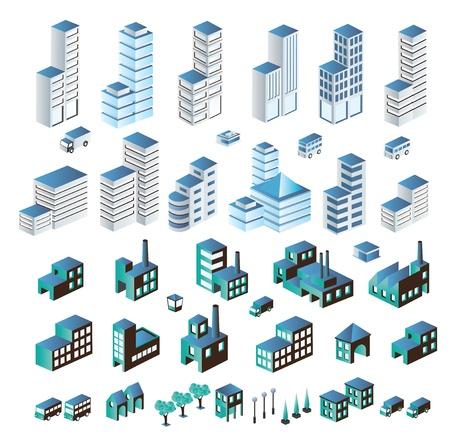 isom�trique: Un ensemble de b�timents urbains et industriels dans la isom�trique
