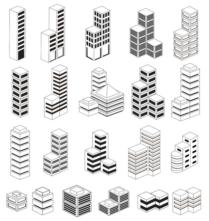 architecture model: A set of urban  buildings in the isometric