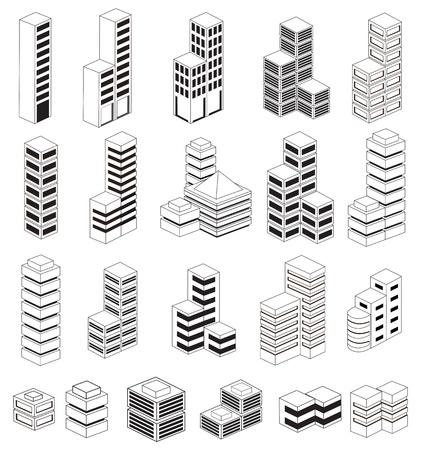 Una serie di edifici urbani in isometrica Vettoriali